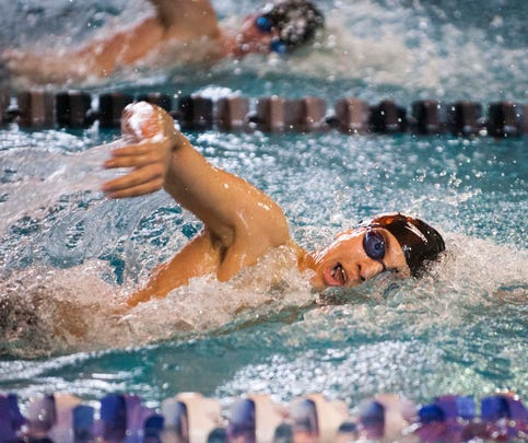 Cherry Hill East's Nick Rosa competes in the Boys 500 yard Freestyle during the NJSIAA Men's individual swimming championship finals, March 1, 2015 in Sewell.