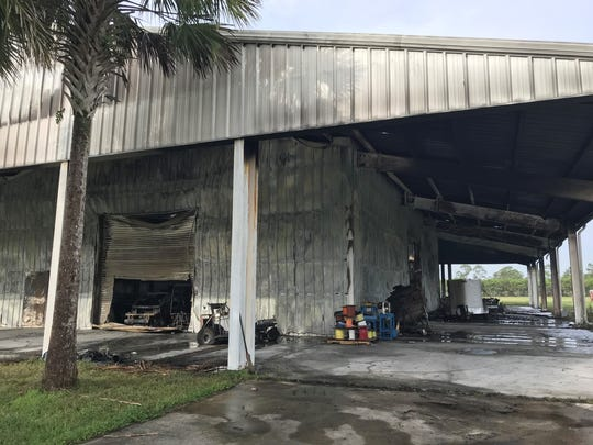 A Palm City storage facility was ravaged by fire Friday morning.