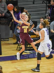 Ankeny's Kayla Pitz (12) takes a half court shot at