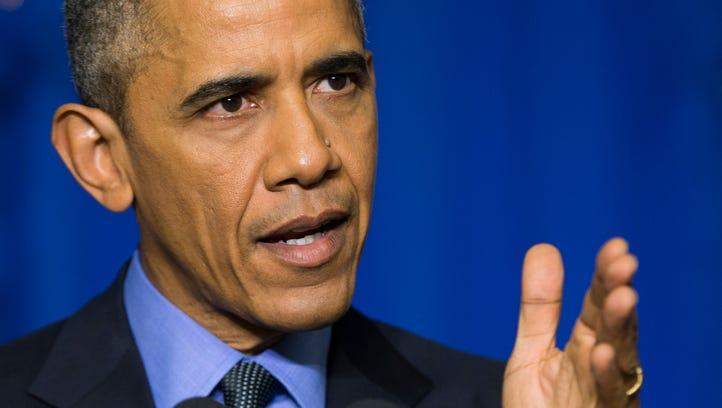 President Barack Obama speaks during a news conference