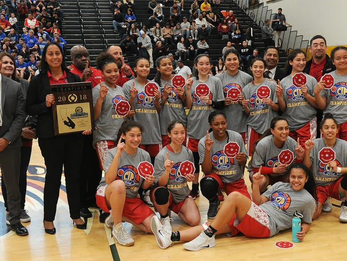 The Hueneme High girls basketball team poses with its