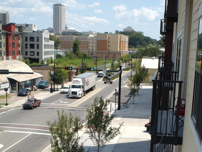 Residents of The Deck have this balcony view of Gaines Street. The retail and residential project opened Aug. 28.