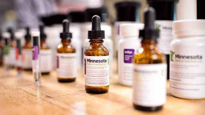 Samples of what the final Minnesota Medical Solutions medicinal cannabis will look like are displayed recently in Otsego.