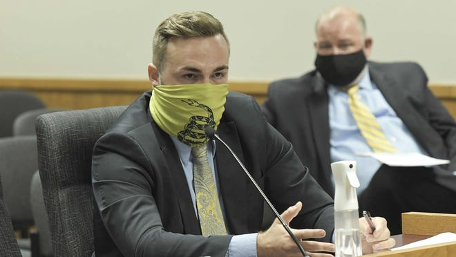 Rep. Nick Schroer-R, O'Fallon, present bills for the special legislative session Monday to House General Laws Committee. A lawsuit filed Thursday accuses Schroer of moving out of his district, vacating his office.