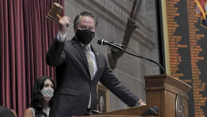 House Speaker Elijah Haahr, R-Springfield, brings the gavel down Wednesday on the annual veto session. Lawmakers also concluded the special session called by Gov. Mike Parson to address violent crime.