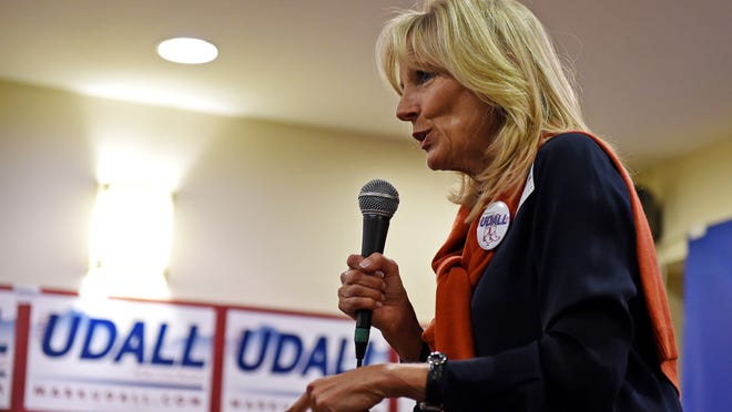 Dr. Jill Biden, wife of the vice president, speaks at a rally for Democratic U.S. Sen. Mark Udall at the Colorado Democratic Party Fort Collins Field Office Saturday, Nov. 1, 2014.