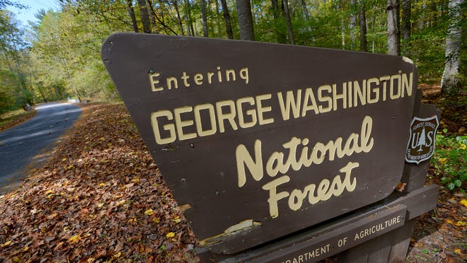 A sign marks the border of the George Washington National Forest along Stokesville Road on Oct. 8, 2013.