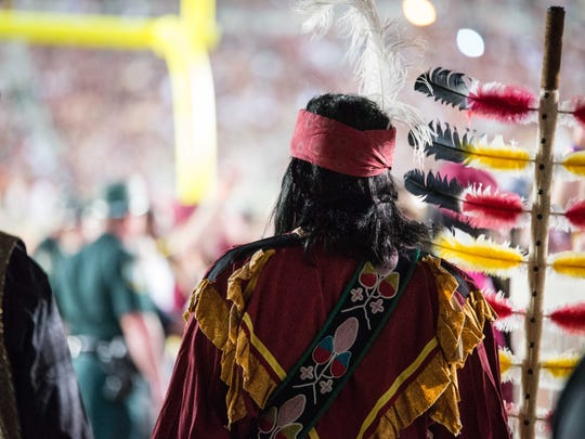 Osceola waits in the tunnel before charging the field at FSU's game vs. Miami.