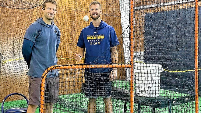 Logan Carman, left, and Carson Cross, former teammates at Exeter High School, have opened 603 Evo -- a baseball and weight training program. They recently opened their indoor facility on Hampton Road in Exeter.
