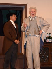 "Jack Chesney (Tristan Ford) receives valuable advice from his father, Sir Francis Chesney (Harold Ragan), in a scene from ""Charley's Aunt."" The comedy opens Saturday at Riverfront Playhouse."
