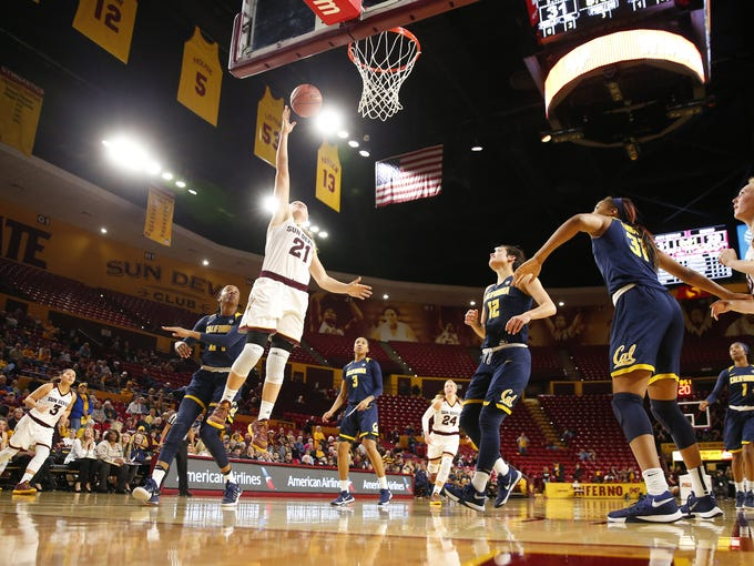 Arizona State forward Sophie Brunner (21) lays in two