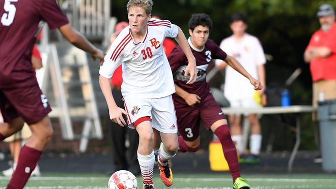 Bergen Catholic's Daniel O'Donoghue (No. 30) looking for an open man. Bergen Catholic and Don Bosco boys soccer tied 1-1 in Oradell, NJ on Monday, September 25, 2017.