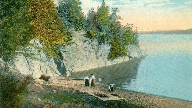 Historic postcard of Bluff Cove on Malletts Bay.