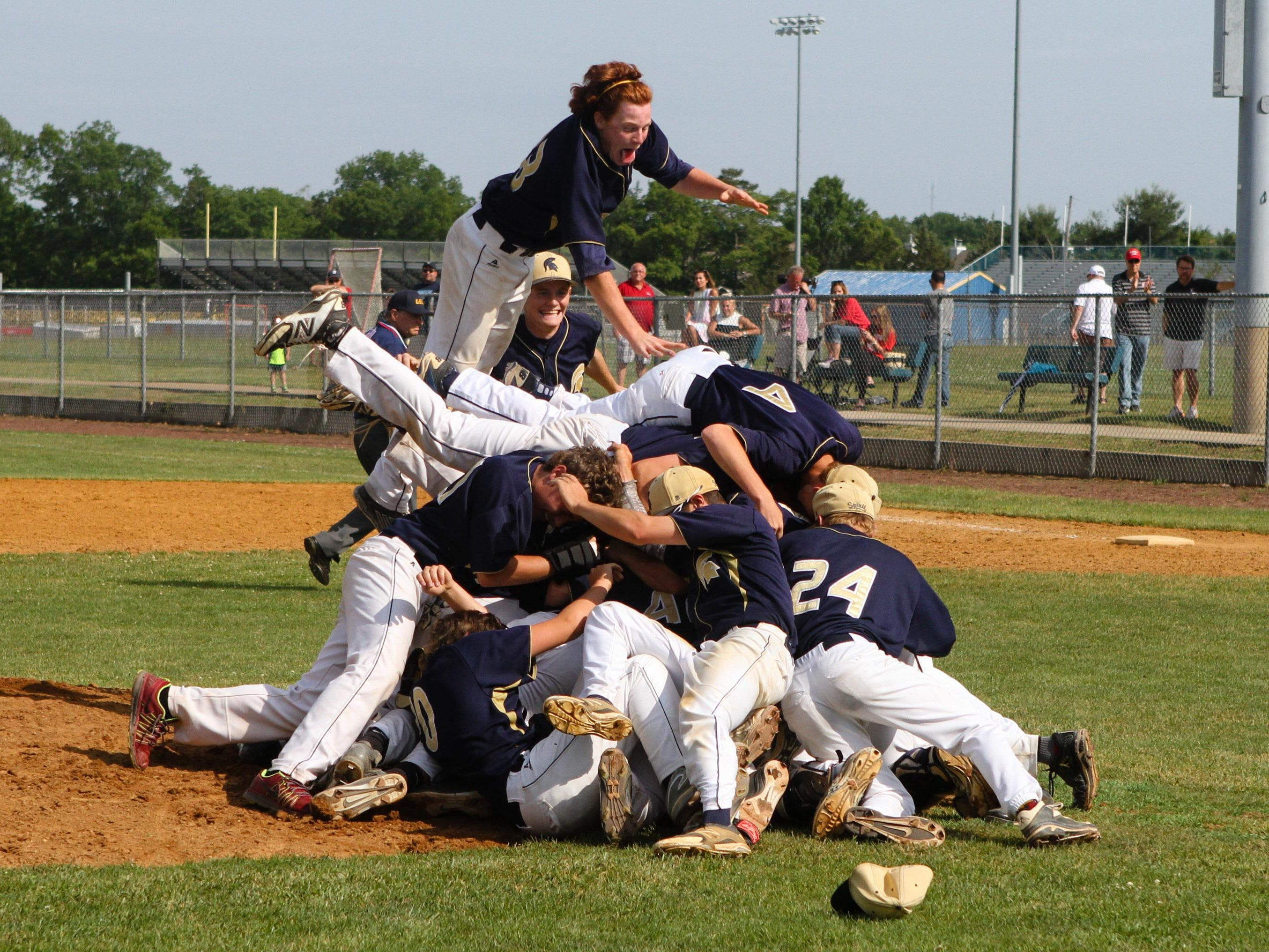 Holy Spirit players react after winning the Non-Public B state championship Saturday at Toms River North High School.