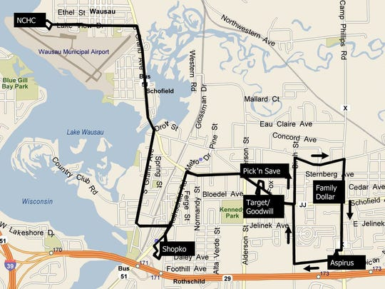 "A look at the new Metro Ride ""Route K"" being proposed for Schofield, Rothschild and Weston, a route that would be shorter in length but feature more trips per day. Weston residents spoke in favor of the plan during a public hearing Monday."