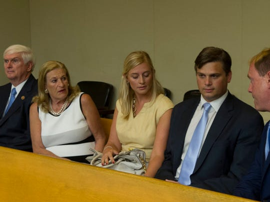 John Duncan III, second from right, sits with his attorney Jeff Hagood, right, his wife Jennifer Rhodes Duncan and his parents U.S. Representative Jimmy Duncan and Lynn Duncan during his appearance in court on Tuesday, July 2, 2013, in Knoxville.