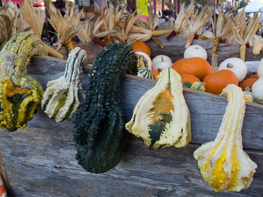 Funky gourds appeared at the Downtown Farmers' Market.