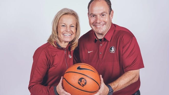 Will Cowen, right, is leaving his role as athletic director at Ventura College to join Sue Semrau's Florida State University women's basketball coaching staff.