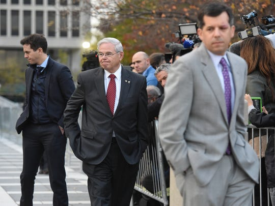 Senator Bob Menendez leaves Martin Luther King Jr. Federal Courthouse at the end of the day on Thursday, November 9, 2017 after the jury did not come to a decision in his corruption case.