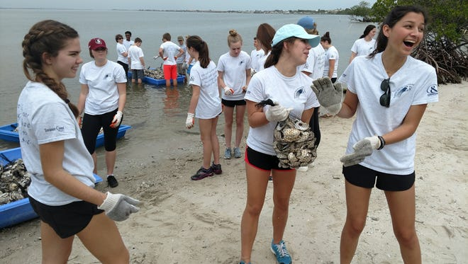 Students from Martin Youth LEADERship get hands-on with the Florida Oceanographic Society, where they constructed an oyster reef as part of an ongoing reef restoration project.