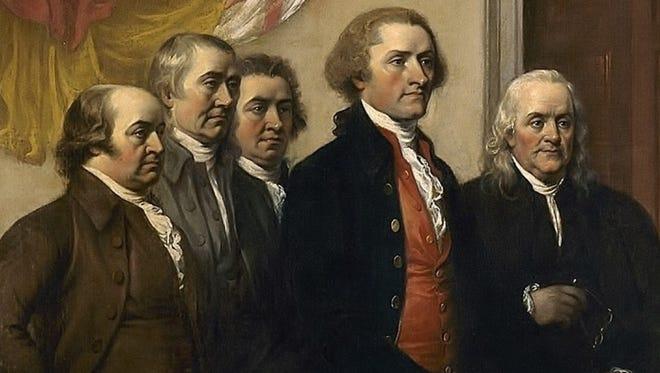The Declaration Committee, from left: John Adams, Roger Sherman, Robert Morris, Thomas Jefferson and Benjamin Franklin.