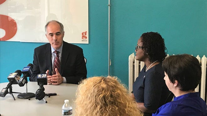 Sen. Bob Casey, D-Pa., tells York leaders Friday, May 5, 2017, about bills he's working on that are focused on women in the workforce. Jana Benscoter photo.