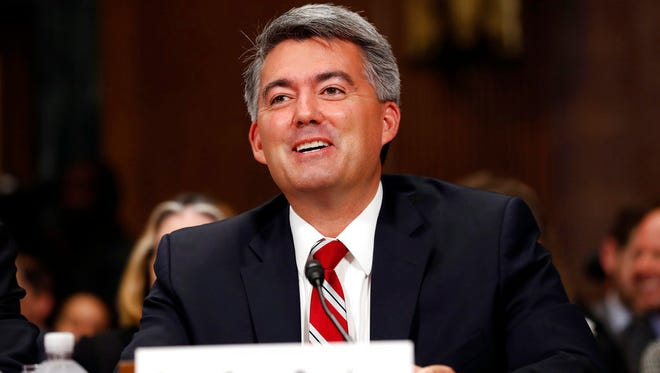 In this Sept. 20, 2017 file photo, Sen. Cory Gardner, R-Colo., speaks during a Senate Judiciary Committee hearing on Capitol Hill, in Washington. Gardner used his power as a senator to freeze all nominations to the Department of Justice last month. He made the move after Attorney General Jeff Sessions withdrew Obama-era protections for states like Colorado that had legalized recreational marijuana. Gardner now says there has been enough progress on negotiations over marijuana with the Trump administration that he's withdrawing some of his holds on nominees.