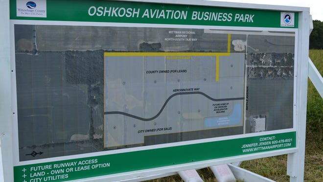 A map of the new avaition business park being developed on the south end of Wittman Regional Airport in Oshkosh.