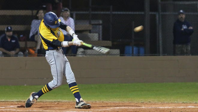 Gulf Breeze's Brandon Schrepf hits an RBI single to right field at Gulf Breeze High School during the second day of the 2016 Aggie Classic. Schrepf will join the German national team for international competition this fall.