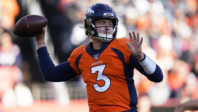 Denver Broncos quarterback and former Missouri star Drew Lock throws a pass during a game against the Oakland Raiders on Dec. 29 in Denver.
