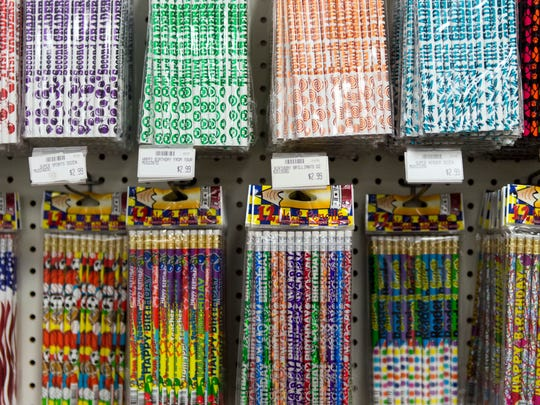 Pencils fill the shelves at The School Box education supply store.