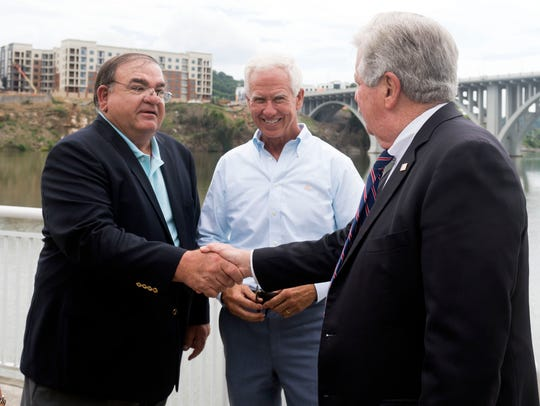 Lt. Governor Randy McNally, right, greets restauranteurs