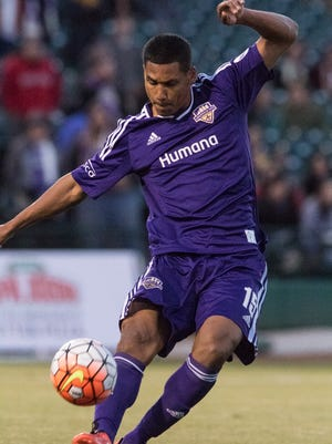 Louisville FC's Sean Reynolds shoots the ball during the first half of play against Orlando FC at Louisville Slugger Field, April 9, 2016, in Louisville, Ky.