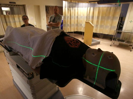 Kyle Atkinson has a mask especially made for him that is used for his radiation therapy treatment at Oregon Health and Science University. Photo taken on Thursday, July 2, 2015, in Portland, Ore.