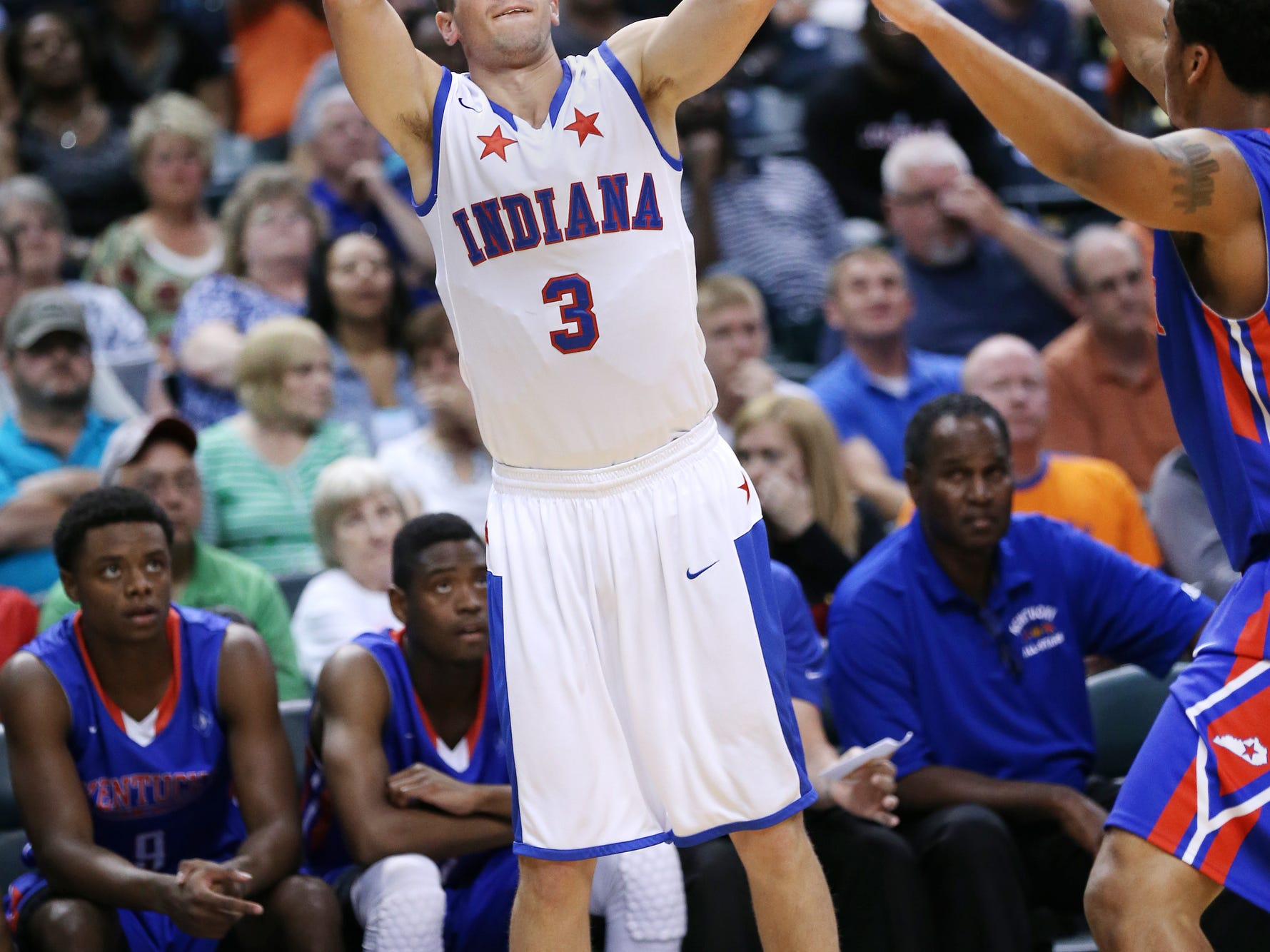 Wapahani graduate Grant Evans fires a shot in an Indiana All-Stars game against Kentucky in 2014. Evans has elected to transfer from Wright State after his freshman season.