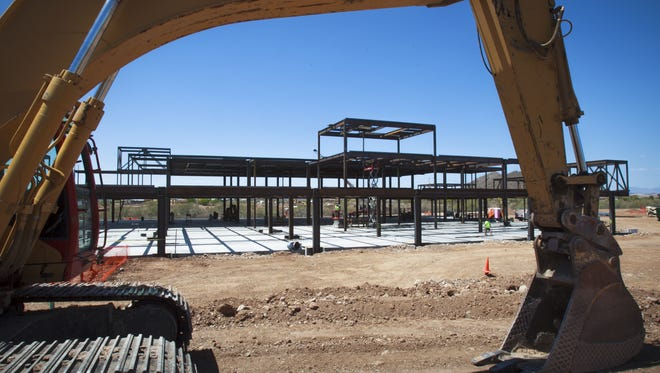 Work underway on Peoria's first hospital, Peoria Regional Medical Center in April 2012. Work stopped later that year and has not resumed.