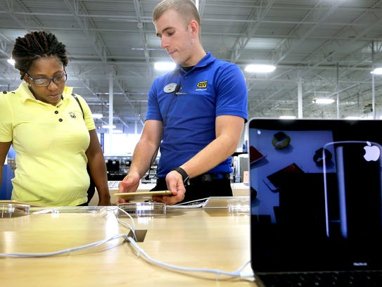 Sales Consultant at Best Buy Austin Stockhecke, right,