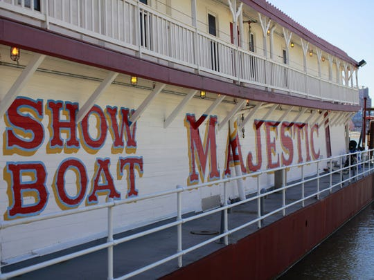 The Showboat Majestic is docked at the Public Landing.