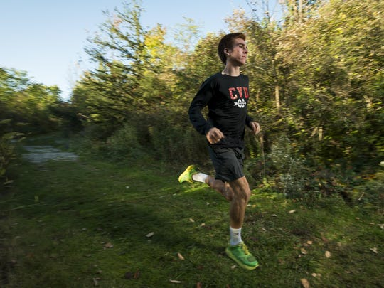 CVU cross-country runner Tyler Marshall poses for a portrait on Wednesday afternoon in Hinesburg.