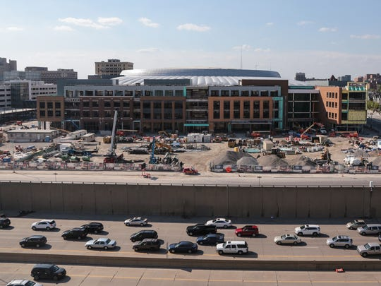 A view of the Little Caesars Arena in downtown Detroit is seen looking north as traffic flows on I-75 on June 12, 2017.
