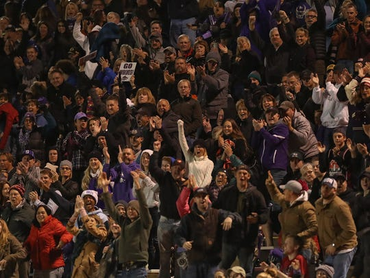 Shasta High School fans cheer after a touchdown Saturday as the Wolves defeated Marin Catholic for the NorCal Division 3-AA championship.