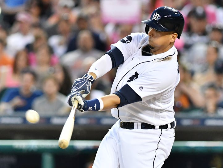 Tigers designated hitter Victor Martinez is back in