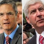 Left:  Democrat gubernatorial candidate Mark Schauer | Right: Republican Gov. Rick Snyder