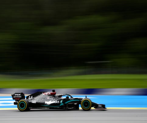Mercedes driver Lewis Hamilton of Britain steers his car during the second practice session at the Red Bull Ring racetrack in Spielberg, Austria, Friday, July 3, 2020. The Austrian Formula One Grand Prix will be held on Sunday. (Mark Thompson/Pool via AP)