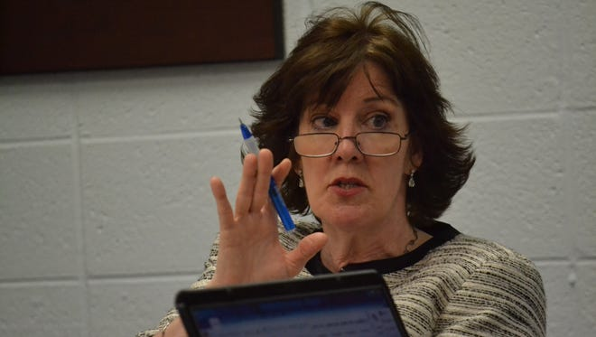 Oconto Unified School District superindent Dr. Sara Croney, seen at an April 2013 school board meeting, said will be retiring soon.