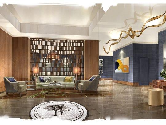 Omni Louisville artist rendering of residential lobby.