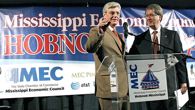 Consul General of Canada Stephen Brereton, right, and Gov. Phil Bryant speak of the importance of trade between Canada and Mississippi at the Mississippi Economic Council?s annual Hobnob,  Wednesday. Rogelio V. Solis/AP Consul General of Canada Stephen Brereton, right, listens as Mississippi Gov. Phil Bryant speaks of the importance of trade between Canada and Mississippi following Brereton's address at the Mississippi Economic Council's annual Hobnob, a casual gathering where industry leaders, their staffs, election running incumbents, their opponents and lobbyists eat fried catfish and mingle, Oct. 31, 2012, in Jackson, Miss.