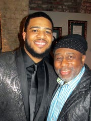 Kameron Whalum (left) with Bar-Kays bassist James Alexander
