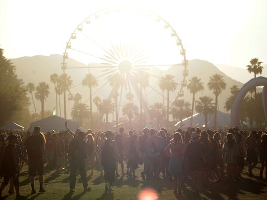The sun sets on Coachella festival goers on Friday, April 11, 2014 on the first weekend of the 2014 Coachella Valley Music and Arts Festival in Indio, CA.
