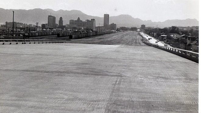 10/28/1967 The yet to be completed Interstate 10 section entering Downtown El Paso will give travelers a panoramic view of the El Paso-Juarez situation. The 12 lane divided highway will feed future traffic easily into either the Cordova Island facilities or the Santa Fe and Stanton Street Bridges.